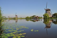 Dutch mill reflecting in a canal. Kinderdijk, Holland Stock Photo