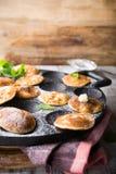 Dutch mini pancakes called poffertjes Royalty Free Stock Photography