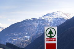 Dutch multinational retail chain and franchise Spar logo in store on March 28, 2012 in Matrei in Osttirol, Austria. Royalty Free Stock Images