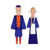Dutch national costume. Illustration of national dress on white background Stock Image