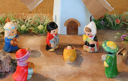 Dutch nativity scene with Holland windmill and the Three Kings Stock Images