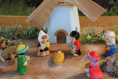 Dutch nativity scene with Holland windmill and the Three Kings Royalty Free Stock Photo