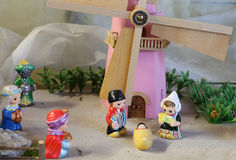 Dutch nativity scene with Holland windmill and the Three Kings Royalty Free Stock Photos