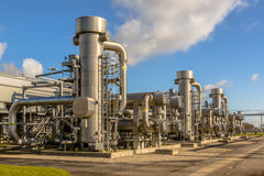 Dutch Natural gas processing site. Refinery units on Dutch Natural gas field processing site royalty free stock photos