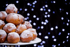 Dutch New Year's Eve with oliebollen, a traditional pastry Stock Images