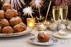 Dutch New Year's Eve with oliebollen, a traditional pastry Royalty Free Stock Image