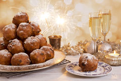 Dutch New Year's Eve with oliebollen, a traditional pastry Stock Photography