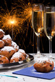 Dutch New Year& x27;s Eve with oliebollen, a traditional pastry Stock Image
