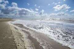 Dutch North Sea. Coast in Katwijk aan Zee on a stormy day royalty free stock image