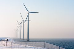 Dutch offshore wind turbines in winter time Stock Images