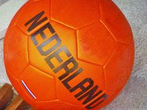 A Dutch orange soccer ball Royalty Free Stock Photo