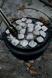 Dutch oven with briquettes and tongs Royalty Free Stock Images