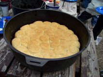 Dutch Oven Cooking Biscuits Royalty Free Stock Photography