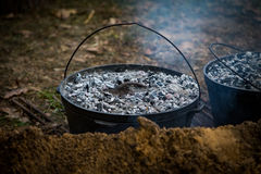 Dutch Oven Cooking Royalty Free Stock Photography
