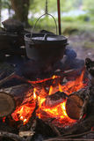 Dutch Oven Over camp Fire Royalty Free Stock Photos