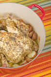Dutch Oven Roasted Chicken with Potatoes #1 Royalty Free Stock Images
