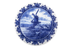 Dutch painted plate. Isolated against white background Royalty Free Stock Photography
