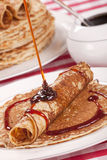 Dutch pancakes with syrup or 'pannenkoeken met stroop' Royalty Free Stock Photography