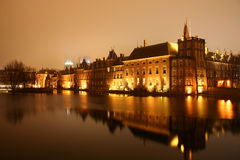 Dutch Parliament. Buildings in The Hague by night stock photo