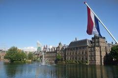 Dutch Parliament. Buildings with dutch flag Stock Images