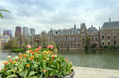 Dutch parliament buildings Binnenhof with skyscrapers in the bac Royalty Free Stock Images