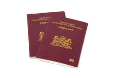 Dutch Passport. Two Dutch passport isolated on white background stock photo