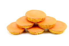 Dutch pastry. Typical dutch pastry called roze koek(pink cake), here in orange color because of the World championship. Its a flat cake with fondant glazing, on Stock Photography