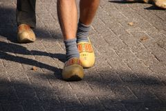 Dutch people walking on clogs during the clog walk in town of Zevenhuizen, The Netherlands.  stock images