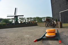 Dutch picture. Typical Dutch picture. Cheese, bike and mill Stock Photos