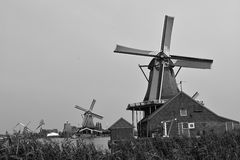 Dutch picture. Typical Dutch picture. Windmills in black and white Royalty Free Stock Photos