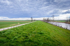 Dutch polder landscape with a curved dike on a cloudy day Royalty Free Stock Image