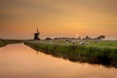 Dutch Polder Landscape during Orange Sunset Royalty Free Stock Photography
