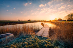 Dutch Polder Landscape at sunrise Stock Photo
