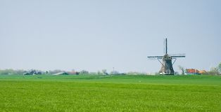 Dutch Polder Landscape With Mill And Farms Stock Images