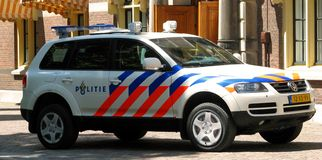 Dutch Police car. (Volkswagen). Den Haag / The Hague; the Netherlands Royalty Free Stock Photography