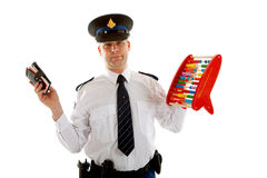 Dutch police officer is caunting vouchers quotas Royalty Free Stock Photos