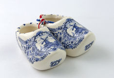 Dutch Porcelain Clogs Souvenir. Dutch Delftware Miniature Clogs. A popular souvenir from the Netherlands Royalty Free Stock Photos