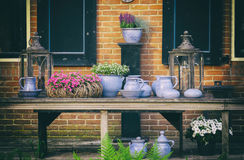 Dutch  pots on wooden beanch Royalty Free Stock Image