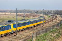 Dutch railway through National Park Oostvaardersplassen near Almere and Lelystad. Dutch railway with express train through National Park Oostvaardersplassen royalty free stock images
