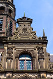 Dutch renaissance facade. Detail of the renaissance style facade dating back to 1600 of city hall (stadhuis) of the old university town of Leiden in the royalty free stock photo