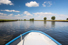Dutch river the Eem. Landscape with Dutch river the Eem and rowboat Stock Photography