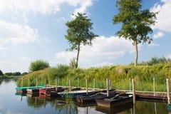 Dutch river in landscape stock photos