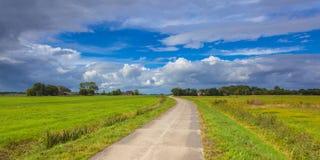 Dutch Road through Pastures Royalty Free Stock Image