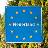 Dutch road sign at the border Royalty Free Stock Images