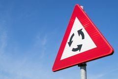 Roundabout. Dutch road sign: caution - roundabout Stock Photography