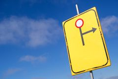 Diversion to the right. Dutch road sign: diversion to the right - road closed ahead royalty free stock images