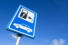 Electric vehicle charging station. Dutch road sign: electric vehicle charging station royalty free stock photo
