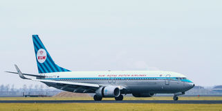 Dutch Royal Airlines. Landing on Schiphol Amsterdam Airport Stock Image