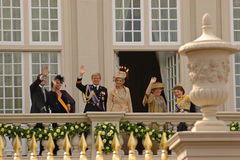 Dutch royal family on the balcony of the palace Stock Image