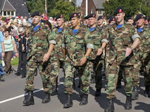 Dutch Royal Marines reserves. A detachment of military veterans of the Royal Danish Army, participating in the Airborne Memorial March in Oosterbeek, the Royalty Free Stock Photography